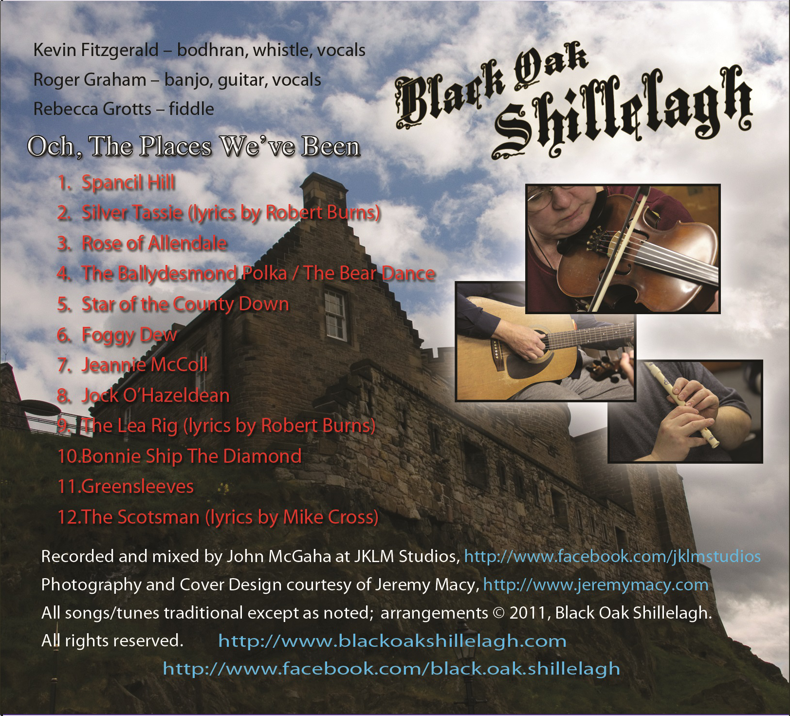 Back cover of Och, The Places We've Been CD